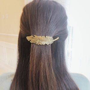 Accessories - 3 NWT Gold Feather Hair Accessory & Barrette Clip